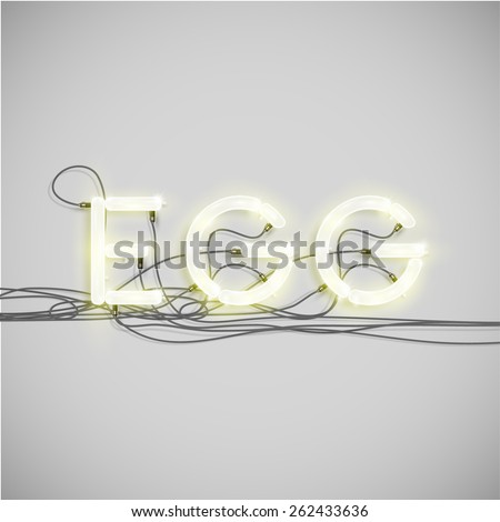 'EGG' made by neon font, vector - stock vector