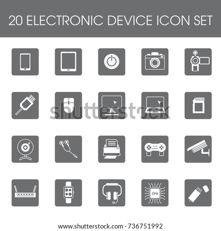 20 Electronic device icon set flat style