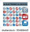36 electronics & devices buttons. vector - stock vector
