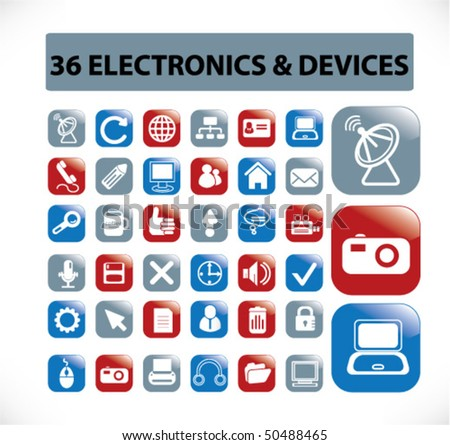 36 electronics & devices buttons. vector
