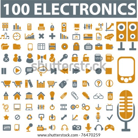 100 electronics & devices icons, signs, vector