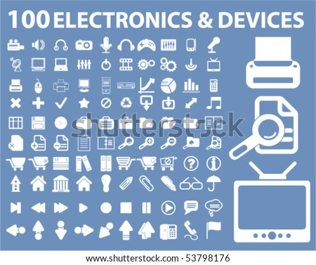 100 electronics & devices signs. vector
