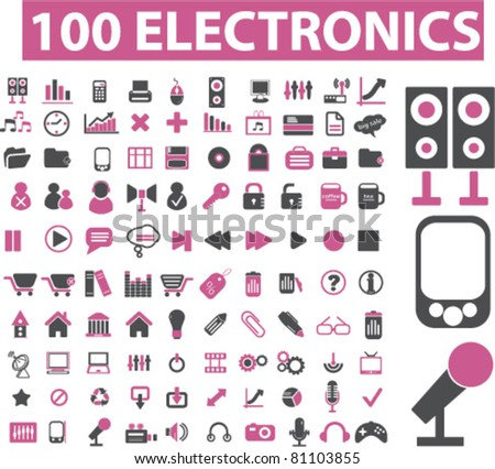 100 electronics icons, signs, vector illustrations - stock vector
