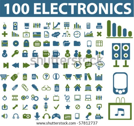 100 electronics signs. vector - stock vector