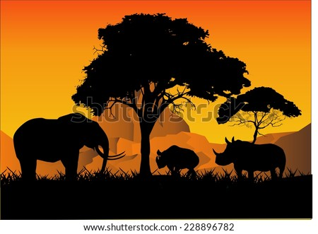 Elefant and 2 rhinos in savannah Silhouettes illustration - stock vector