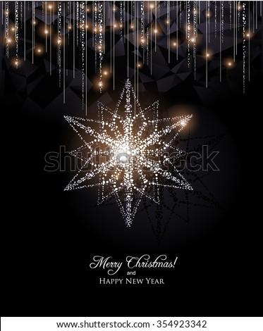 Elegant Snowflake decoration with Christmas lights - stock vector
