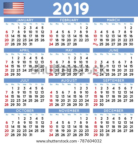 stock vector  elegant squared calendar english usa year calendar calendar file easy to edit and 787604032