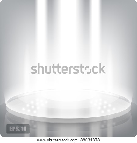 Empty round shelf for exhibition. Backlit.3d.High-tech.Eps10 vector. - stock vector