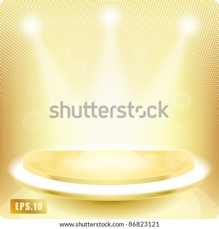 Empty round shelf gold for exhibition. Backlit. 3d. Eps10. Other podiums in the portfolio. - stock vector