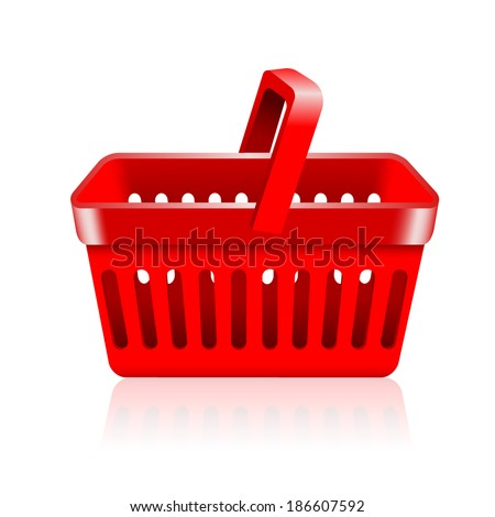 empty supermarket shopping basket isolated on white background.  - stock vector