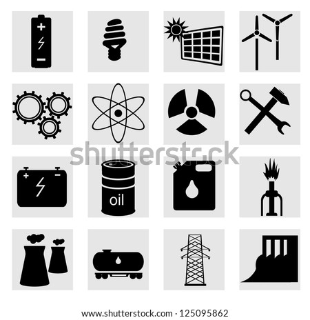 Energy icon set on white. A vector illustration