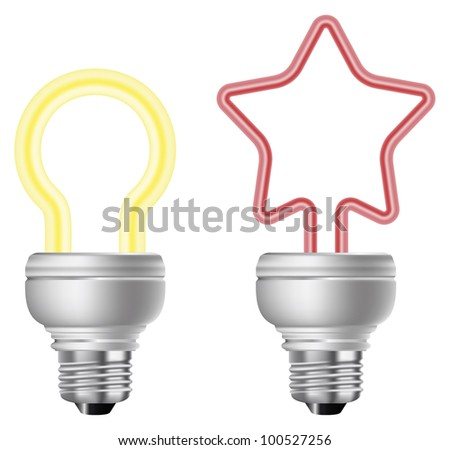 Energy saving light bulb vector. - stock vector