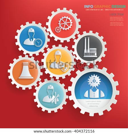 Engineer,industry design,gear info graphic on clean background,vector - stock vector