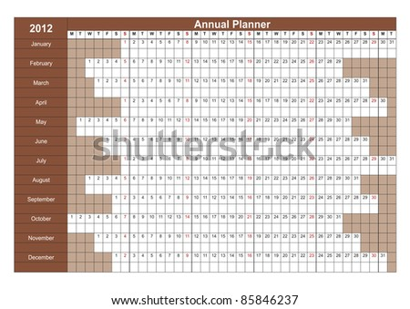 2012 English calendar. Annual Planner. Week starts on Monday - stock vector