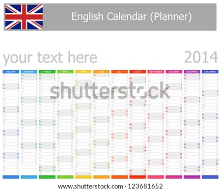 2014 English Planner Calendar with Vertical Months - stock vector