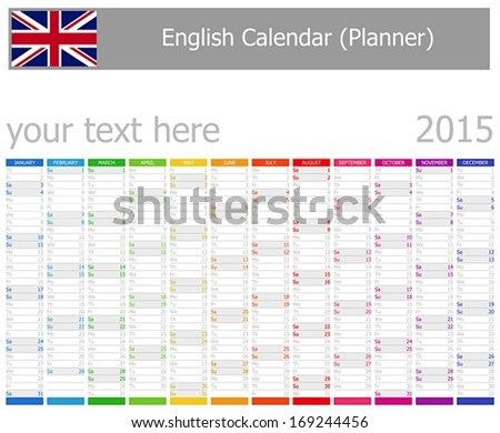 2015 English Planner Calendar with Vertical Months on white background - stock vector