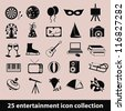 25 entertainment icon collection - stock vector