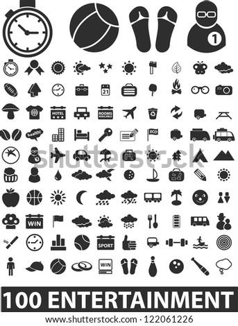 100 entertainment icons set, vector - stock vector