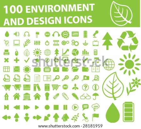 100 environment and design icons - vector set - stock vector