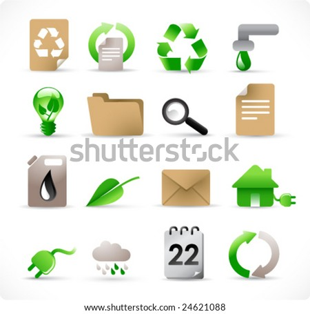 16 environmental icons set for green energy concept (see also other images related to this topic in my portfolio) - stock vector