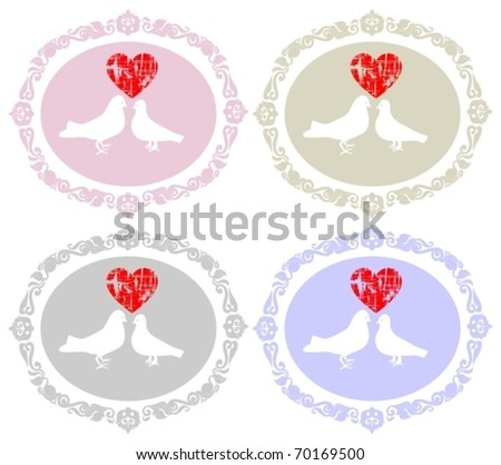 10 EPS, Heart and doves - stock vector