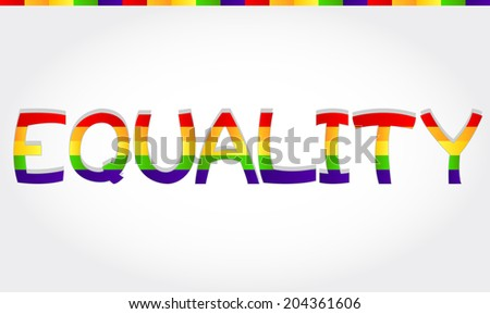 """Equality"" stylized word with rainbow. Equality word"