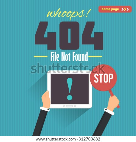 404 Error Flat Illustration Web Page Vector Design - stock vector