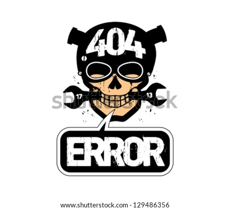 404 error, page not found design template with cartoon skull. - stock vector