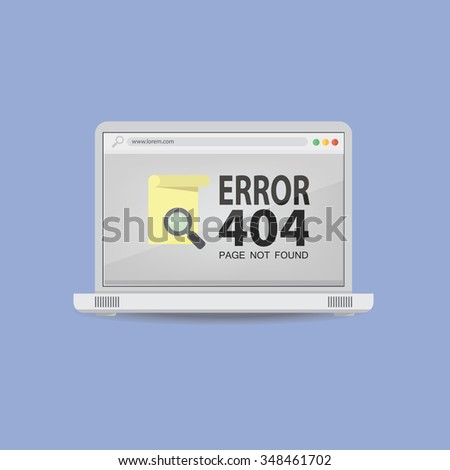 404 Error page not found on laptop screen - stock vector