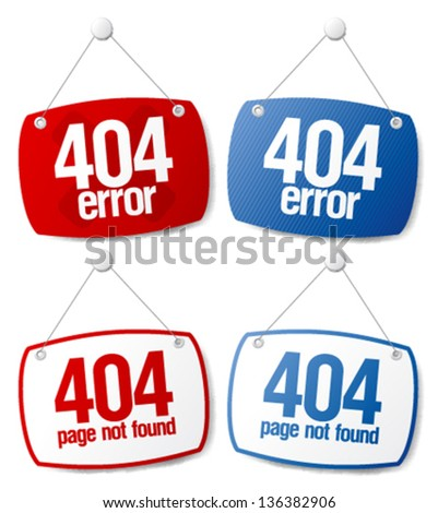 404 error, page not found signs. - stock vector