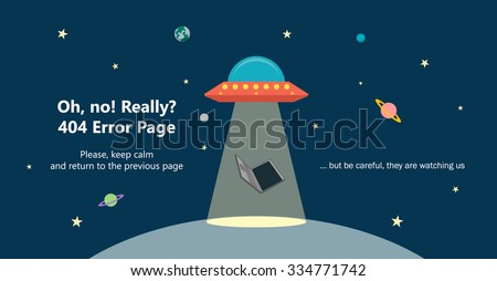 404 error page vector template for website. Outer space landscape with UFO stealing a laptop with ray of light. Levitating computer. Planets and stars in space. Text warning message 404 page not found - stock vector