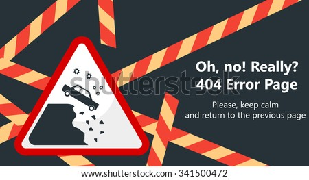 404 error page vector template for website. Road stop sign in shape of  triangle. Car falling down the cliff. Red barricade tape on black background. Text warning message 404 page not found. - stock vector