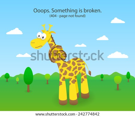 404 error page with knotted giraffe. 404 Page not found site. - stock vector