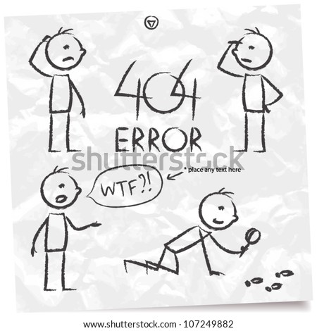 404 error, searching man set - stock vector