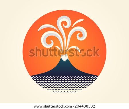 Erupting volcano and sea. Icon. - stock vector