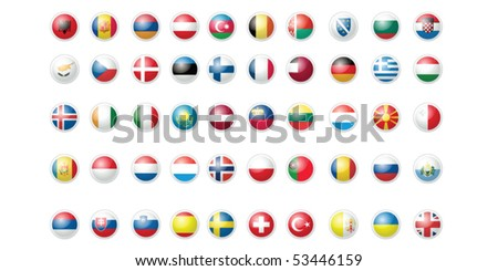 50 European Flags Pack Collection clean and clear icons isolated on white - stock vector