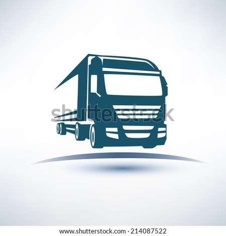 European truck outlined vector symbol - stock vector