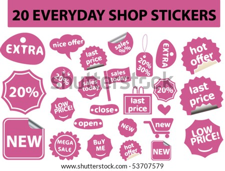 20 everyday cute stickers. vector