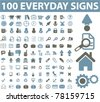 100 everyday icons, vector - stock vector