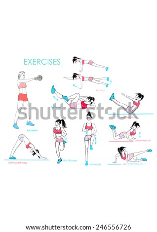 9 exercises.Vector. Woman doing sports  - stock vector