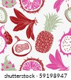 exotic fruits seamless pattern - stock vector