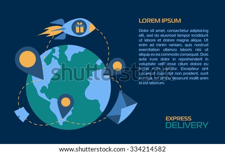 Express delivery letters. World wide delivery. Post delivery. Letter delivery. Delivery concept banner. Delivery service. Delivery box. Delivery from point to point. - stock vector