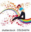 Expressions: happiness - stock vector