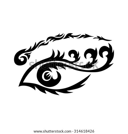 Eye tattoo. Maori tribal tattoo. Eye tribal tattoo in Polynesian style. Celtic ornament in traditional medieval style for ethnic embellishment and tattoo design. Stylized ornamental eye. Vector - stock vector