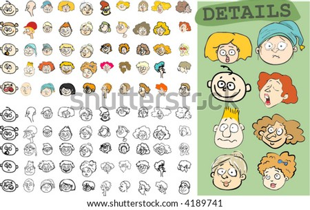 50 Faces - colored and outline versions! - stock vector