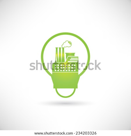 factory in bulb, go green concept - stock vector