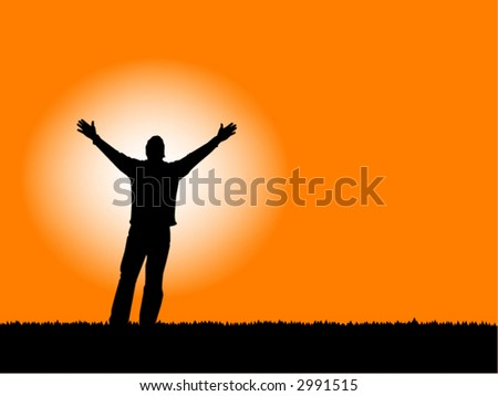 """Faith"" Man with arms outstretched to a sunset sky, also available in jpg. - stock vector"