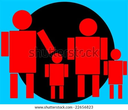 family symbol in a blue black colour background	 - stock vector