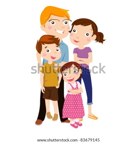 Family with two children - stock vector