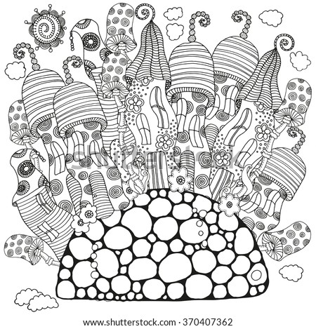 fantasy mushroom coloring pages - photo#19